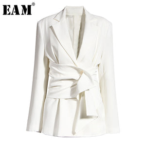 Women White Knot Split Joint Irregular Blazer New Lapel Long Sleeve Loose Fit  Jacket Fashion Spring Autumn 2020 1X343