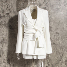 Load image into Gallery viewer, Women White Knot Split Joint Irregular Blazer New Lapel Long Sleeve Loose Fit  Jacket Fashion Spring Autumn 2020 1X343