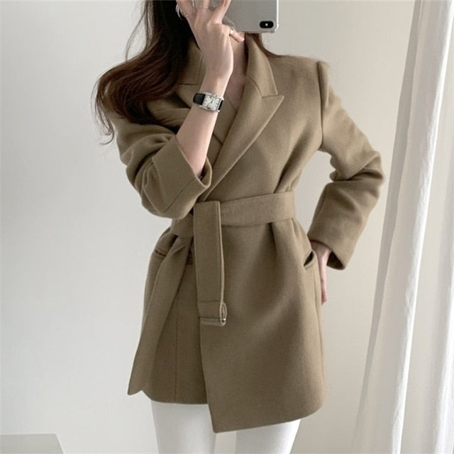 Colorfaith New 2020 Autumn Winter Women Blazers Woolen Formal Jackets Outerwear Lace Up Office Lady Wild No Quilted Tops JK1803