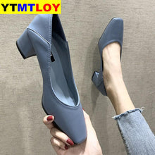 Load image into Gallery viewer, Women Spring Square High Heels Shoe Woman Classic Slip On Casual Ladies Elegant Square Toe Soft PU Fashion Female Pump New - AcornIreland