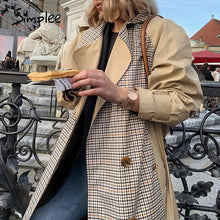Load image into Gallery viewer, Simple Causal light tan autumn women trench coat Split joint elegant long sleeve coat Plaid long coat with belt windbreaker