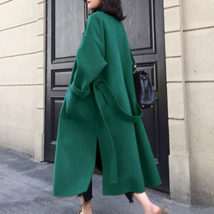 Winter Beige Elegant Wool Blend Women Korean Fashion Black Long Coats Vintage Minimalist Woolen Overcoat Camel Oversize Outwear