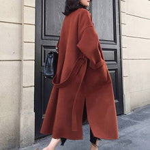 Load image into Gallery viewer, Winter Beige Elegant Wool Blend Women Korean Fashion Black Long Coats Vintage Minimalist Woolen Overcoat Camel Oversize Outwear