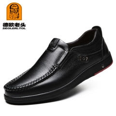 2020 Newly Men's Genuine Leather Shoes Size 38-47 Head Leather Soft Anti-slip Driving Shoes Man Spring Leather Shoes