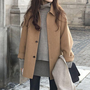 Lucyever Autumn Women Wool Coat Long Sleeve Single Breasted Fashion Turn Down Female Blends Causal Loose Winter Outwear 2020
