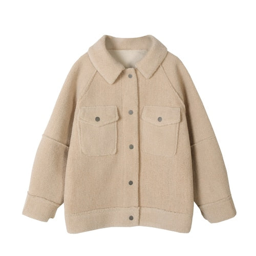 2020 anti sheepskin coat female new loose plush coat shirt jacket