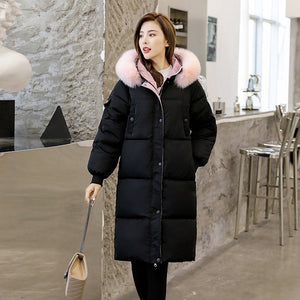 With Fur Collar X-long Jacket Women Hooded Thick Plus Size Parkas Female Winter Loose Casual Cotton Padded Letter Print Coats
