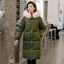 Load image into Gallery viewer, With Fur Collar X-long Jacket Women Hooded Thick Plus Size Parkas Female Winter Loose Casual Cotton Padded Letter Print Coats
