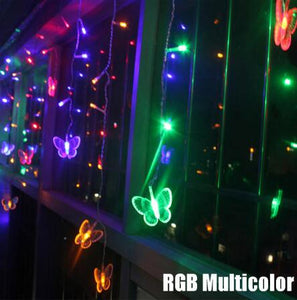3.5m 96 led Fairy Christmas lamp 3.5M Butterfly LED String Curtain Lights 8 Modes AC 220V 240V EU  Christmas Lamp