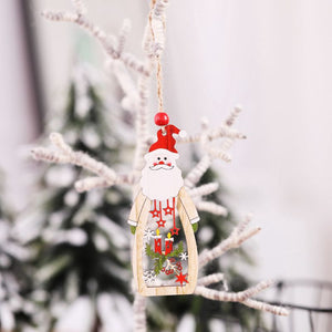 5Pcs Painted Wooden Christmas Pendants Xmas Tree Hanging Ornaments Holiday Party Supplies Adornos Arbol Navidad Chrismas Decor