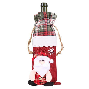 Behogar Cute Merry Christmas Xmas Champagne Wine Bottle Gift Bag Cover for Party Festival Home Dinner Table Party Decoration