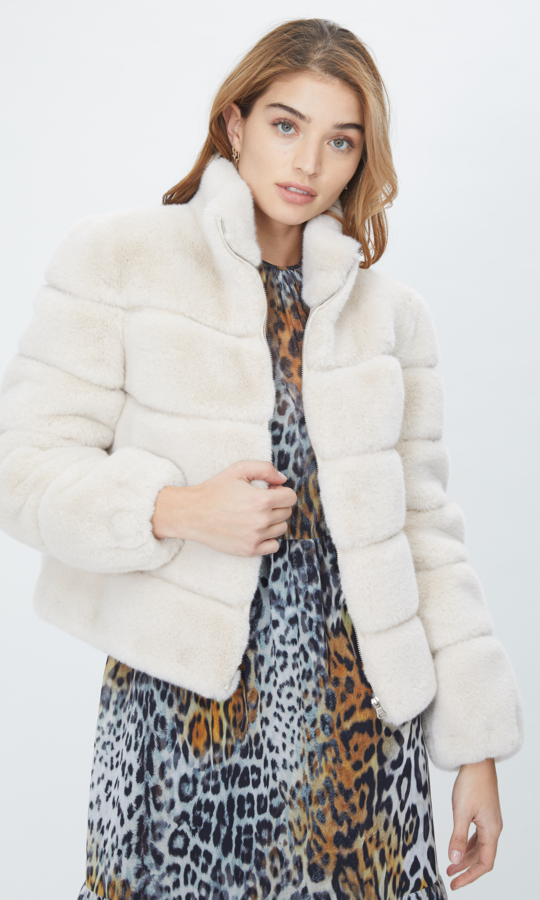 Generation Love Jodi Fur Coat in Stone