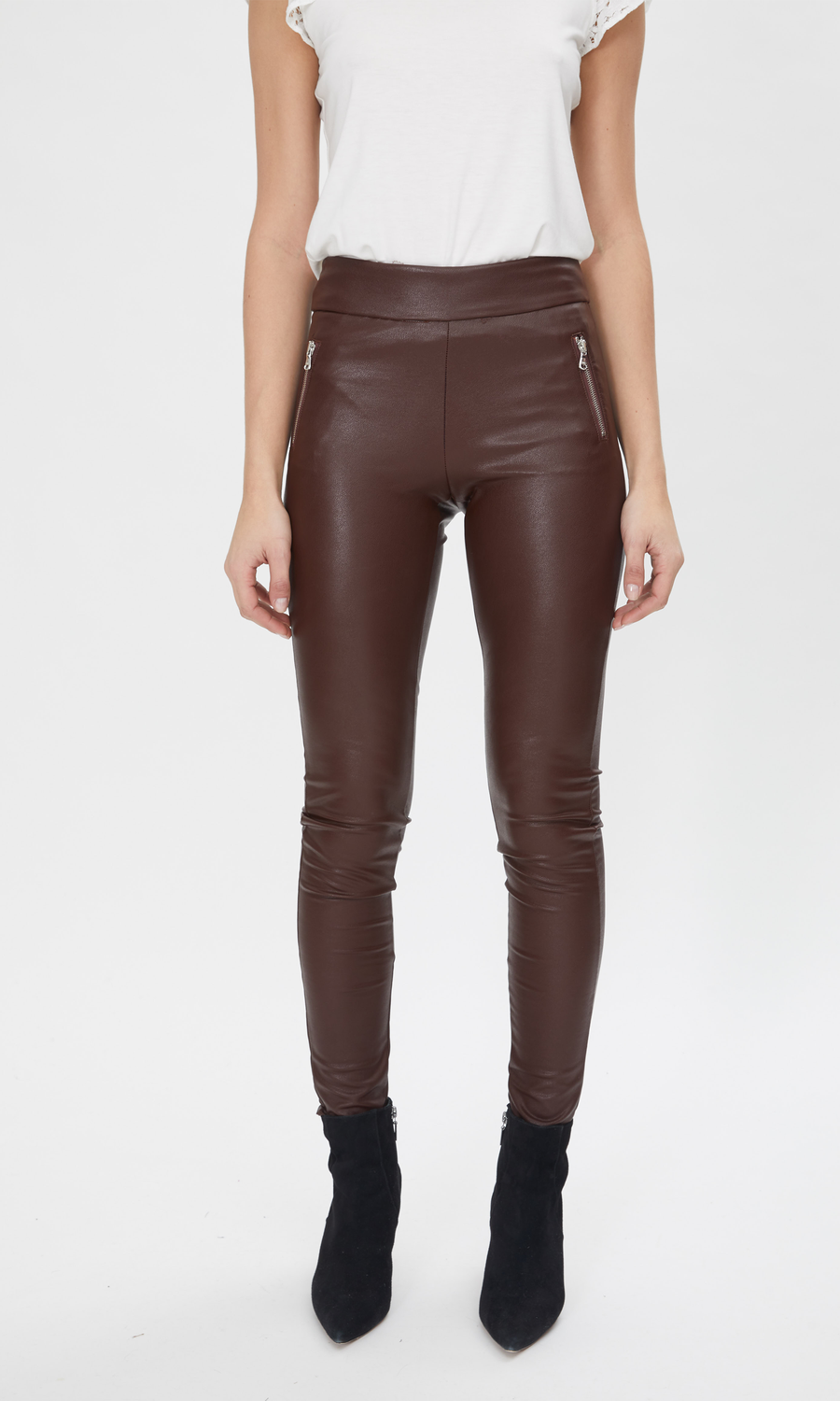 Generation Love Vegan Leather Leggings in Brown.