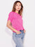 Sundry Short Sleeve Puff Top in Hot Pink
