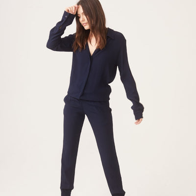 Monrow Crepe Long Sleeve Jumpsuit