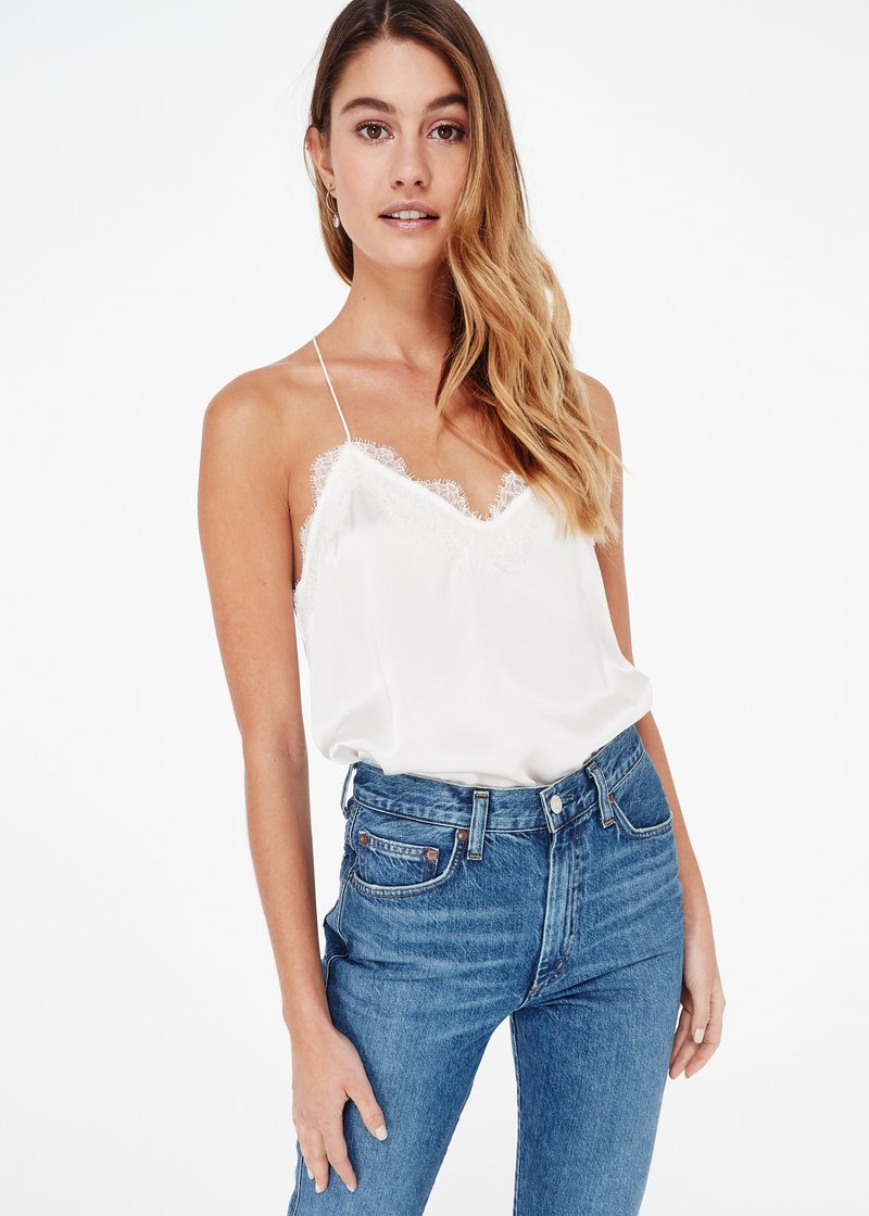 Cami NYC Racer Charmeuse in White