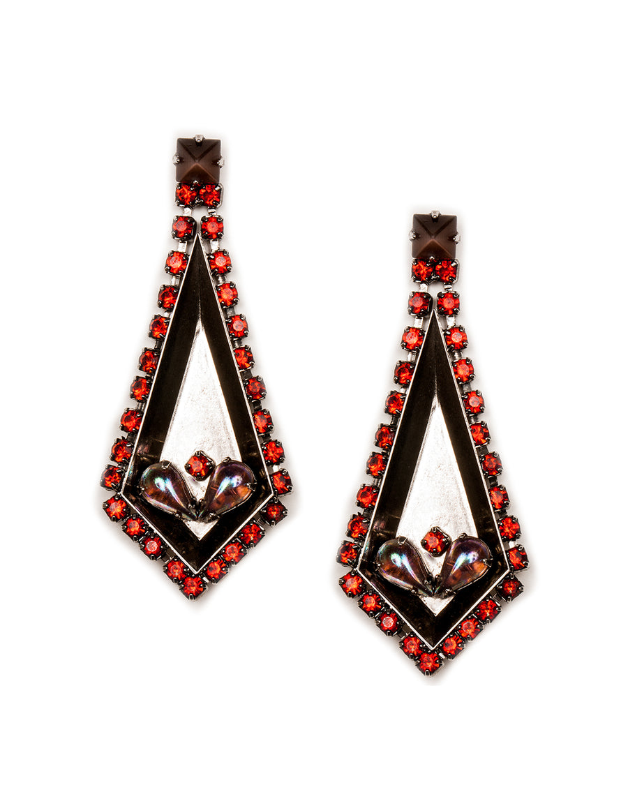 Nicole Romano Rhinestone Wrap Spear Earrings