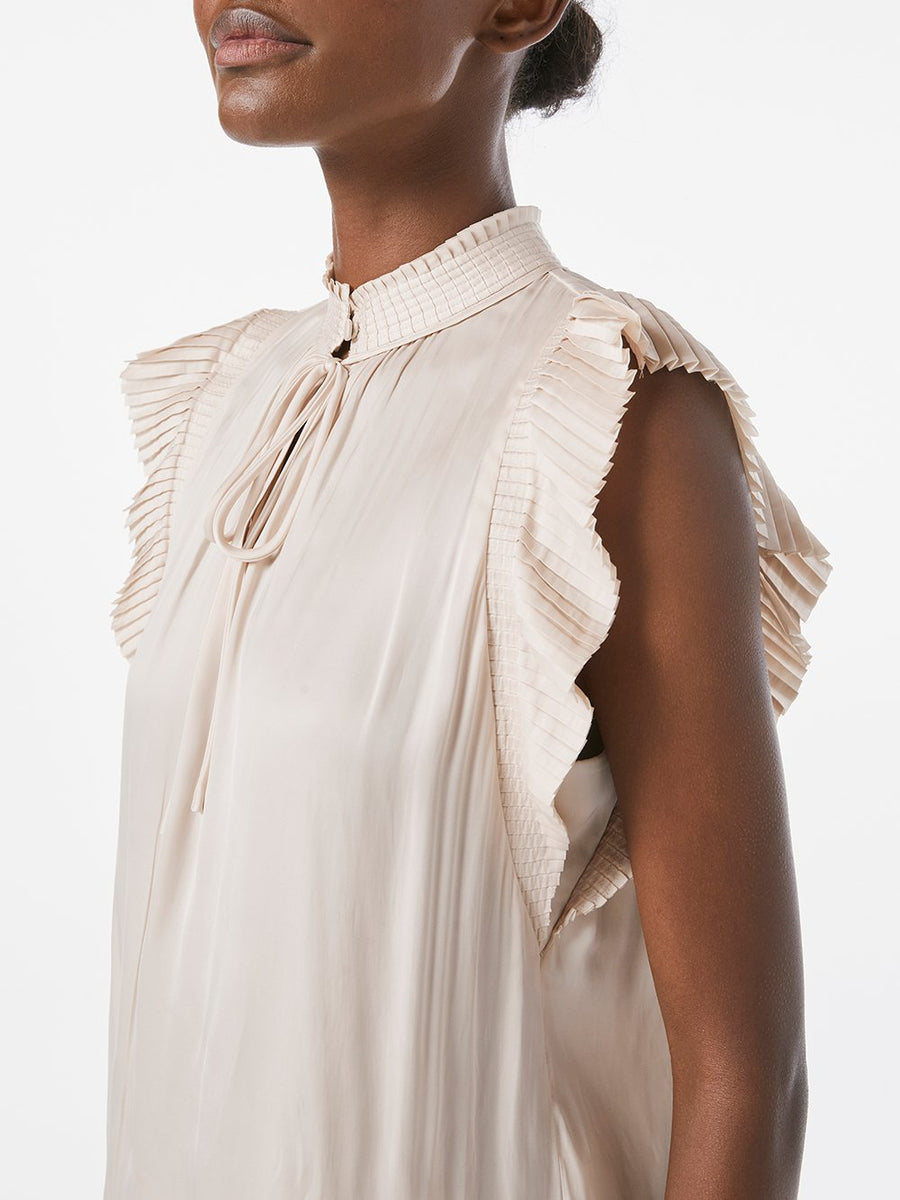 Frame Pleated Sleeveless with Keyhole