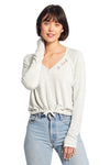 Good hYOUman Jade Cropped Long Sleeve V Neck Top With Thumbholes