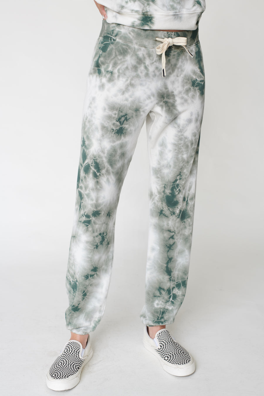 Stateside Fleece Pants in Army/White Tie Dye
