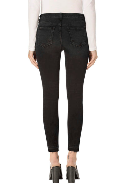 J Brand 835 Mid Rise Crop with Released Hem in Ingenious Black Destruct