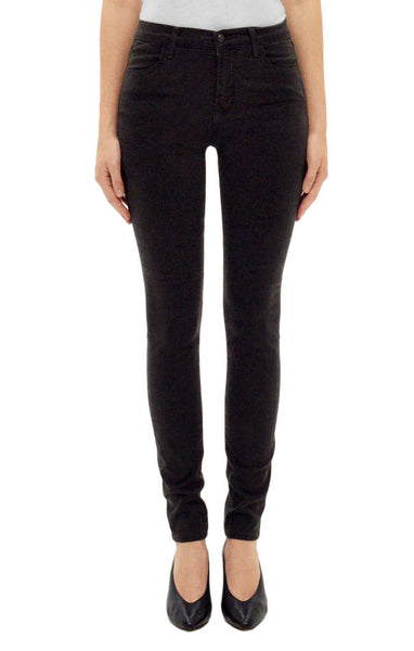 J Brand Maria High Rise Skinny in Luxe Sateen Dark Charcoal