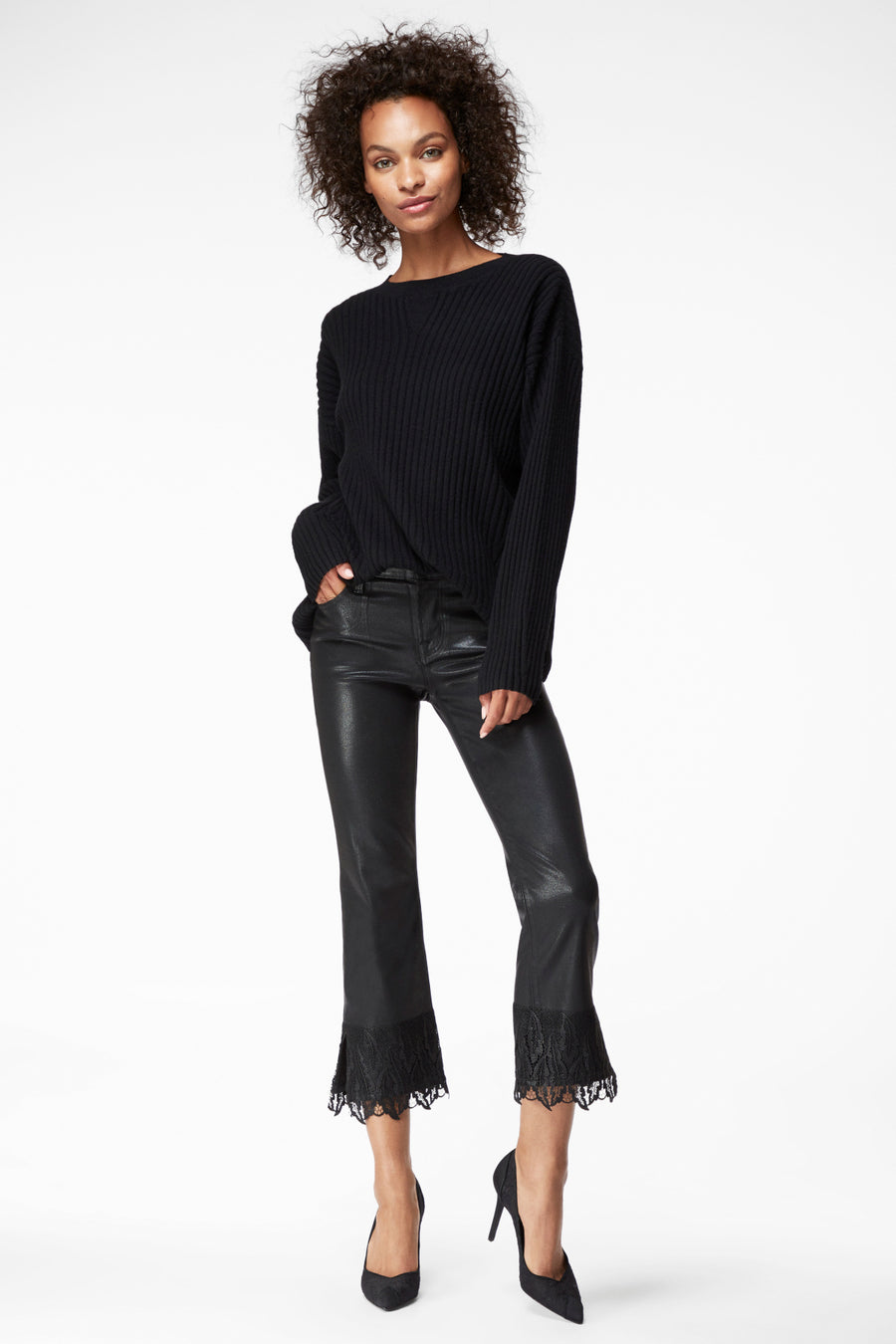 J Brand Selena Mid Rise Cropped in Black Out
