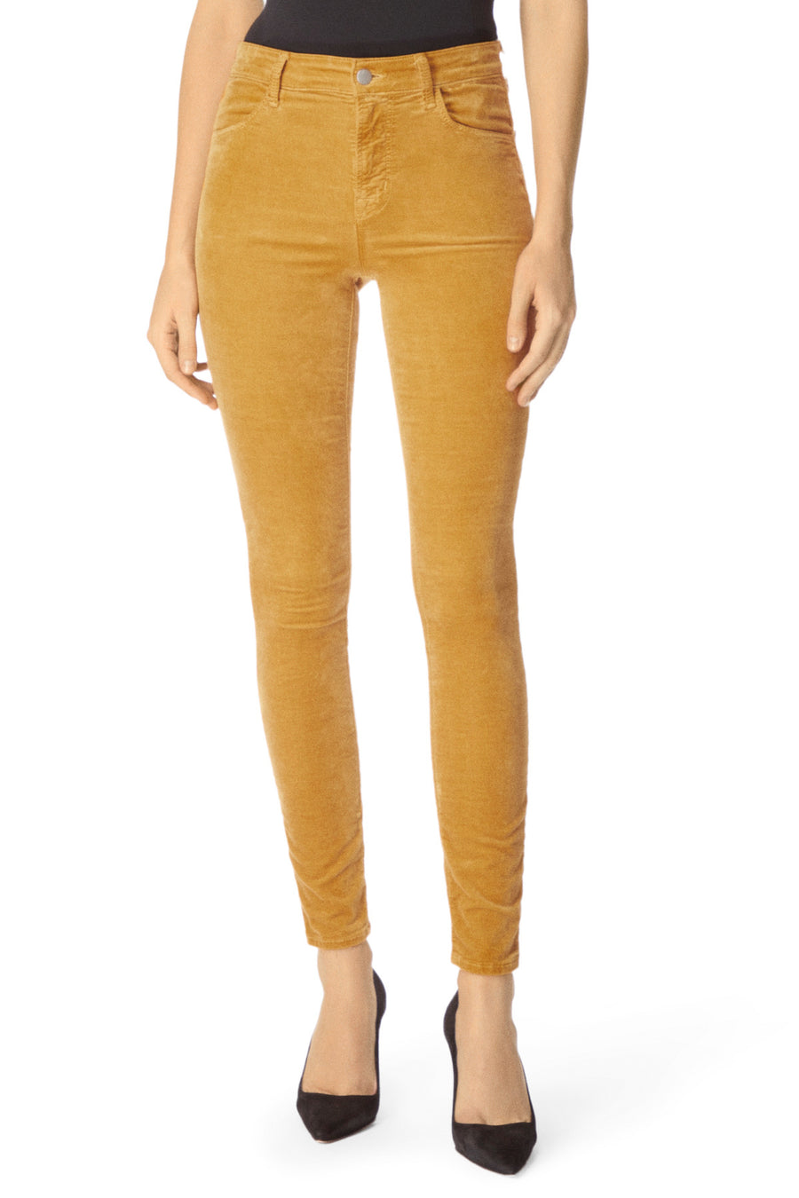 J Brand Maria High Rise Skinny in Iconic Gold