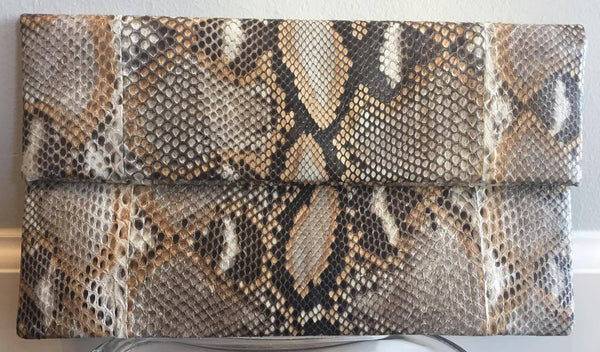 Fig Tree Abria Python Clutch In Natural Tan - Estilo Boutique