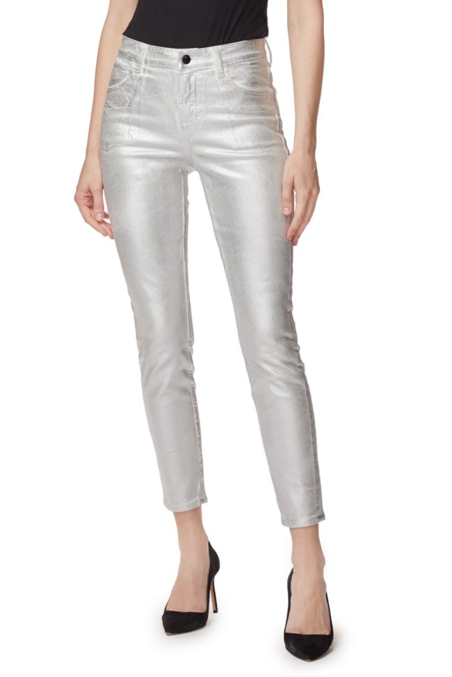 J Brand Alana High Rise in Silver Messaline