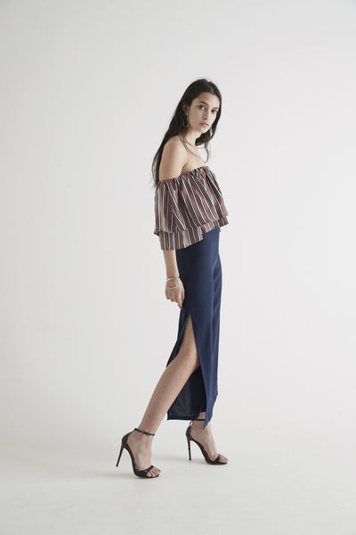 Sir. the Label Zoee Flounce Crop in Rust Stripe