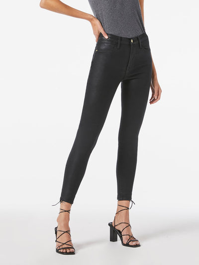 Frame Le High Skinny in Coated Noir