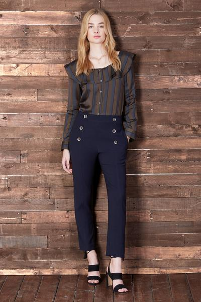 Cosette Liana Silk Blouse In Navy Strip