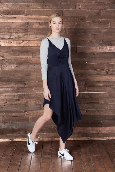 Colette Mayne Asymmetrical Slip Dress In Navy