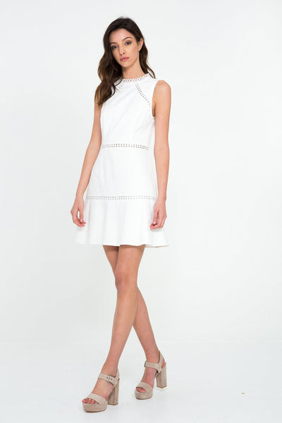 Shilla Play Lace Trim Dress In Off White