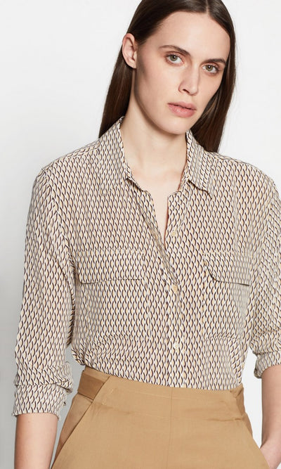 Equipment Signature Silk Top in Ble Multi