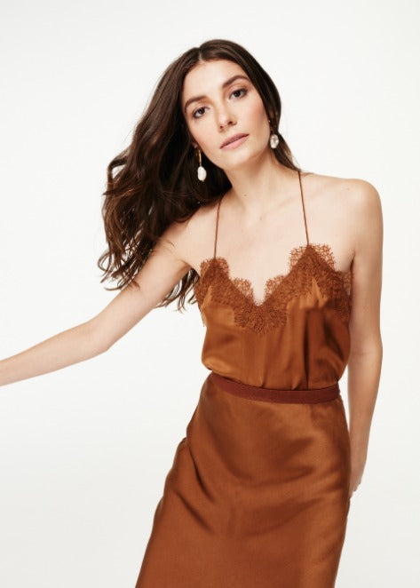 Cami NYC Racer Charmeuse Top in Toffee
