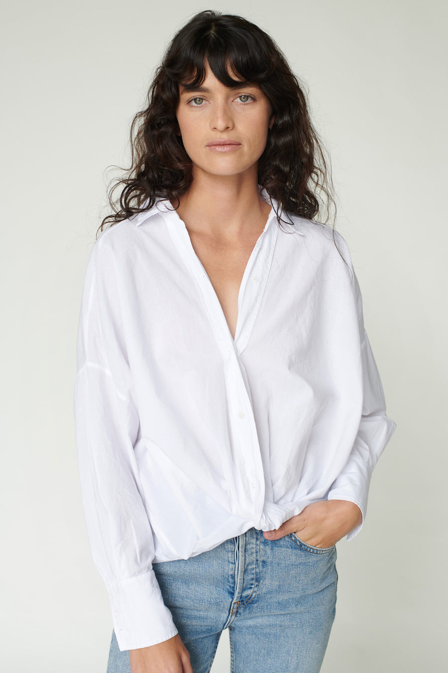 Stateside Poplin Front Twist Top in White
