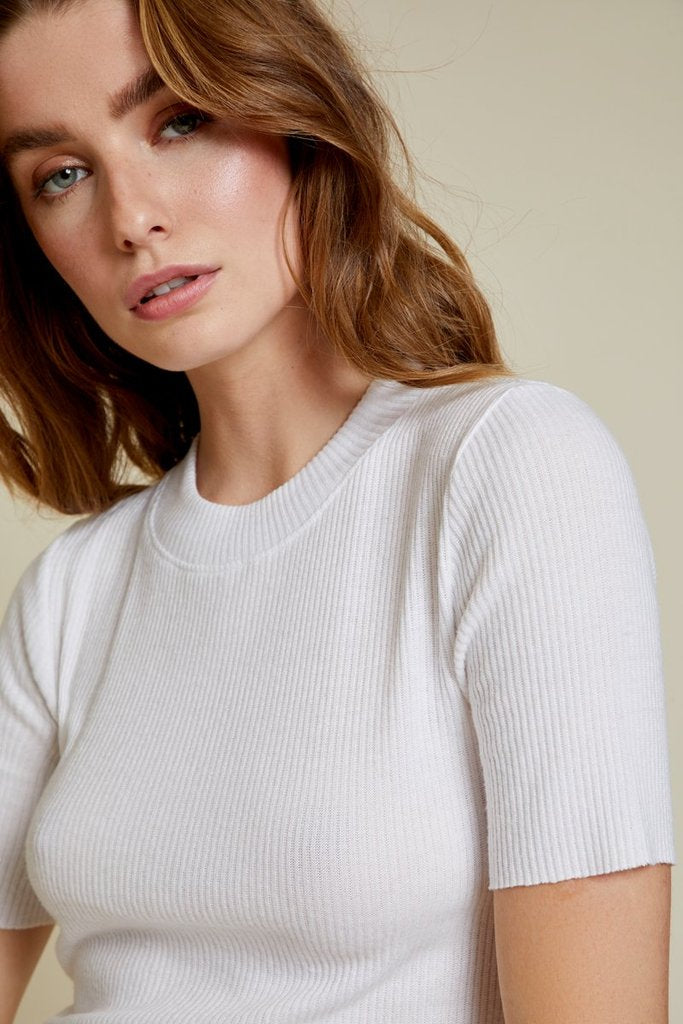 Nation Ida Mock Neck Top White