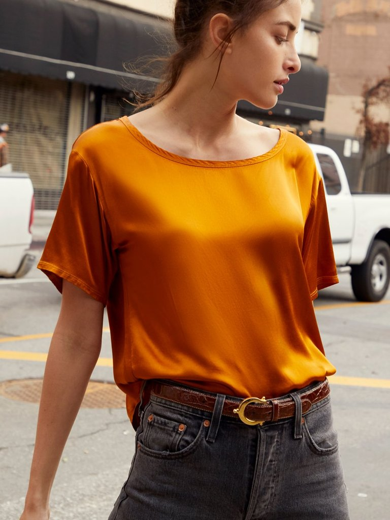 Nation Neve Relaxed Boxy Tee in Butterscotch