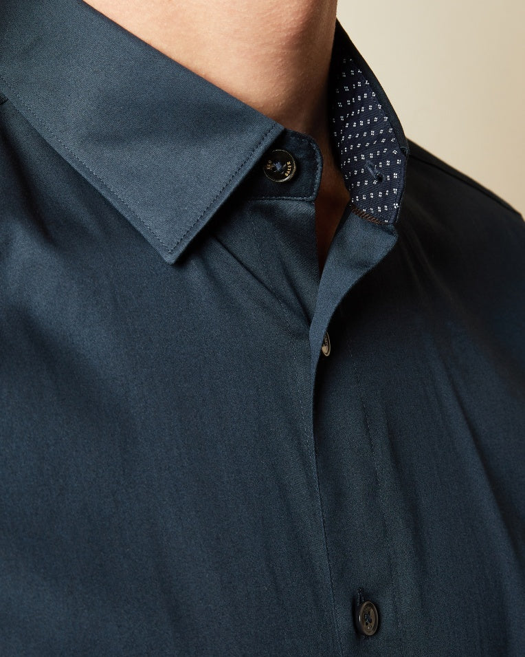 Ted Baker Bobcut Cotton Shirt in Navy