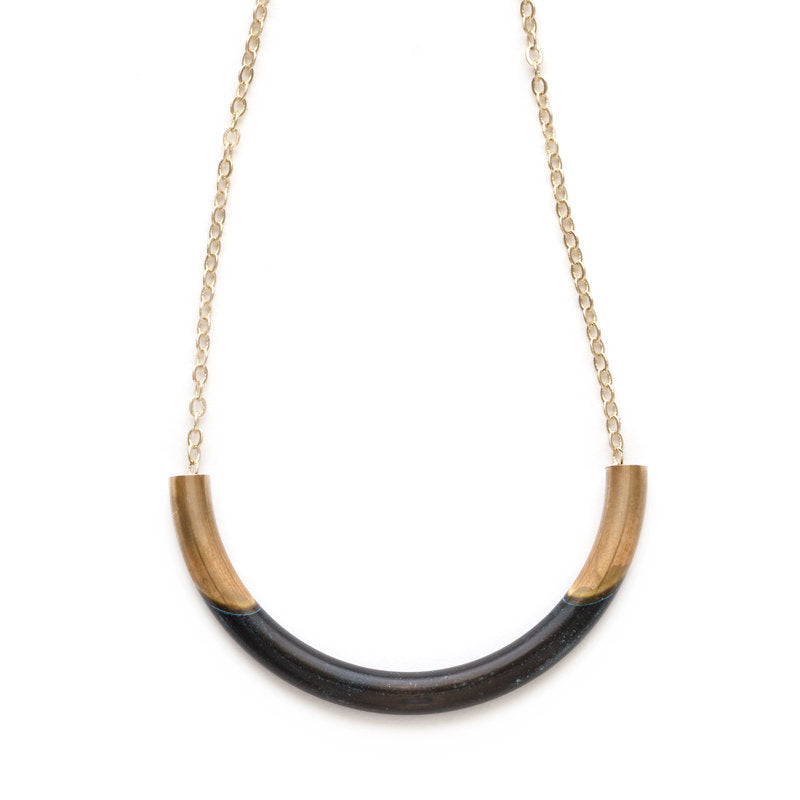 MED Curved 2 Tone Necklace