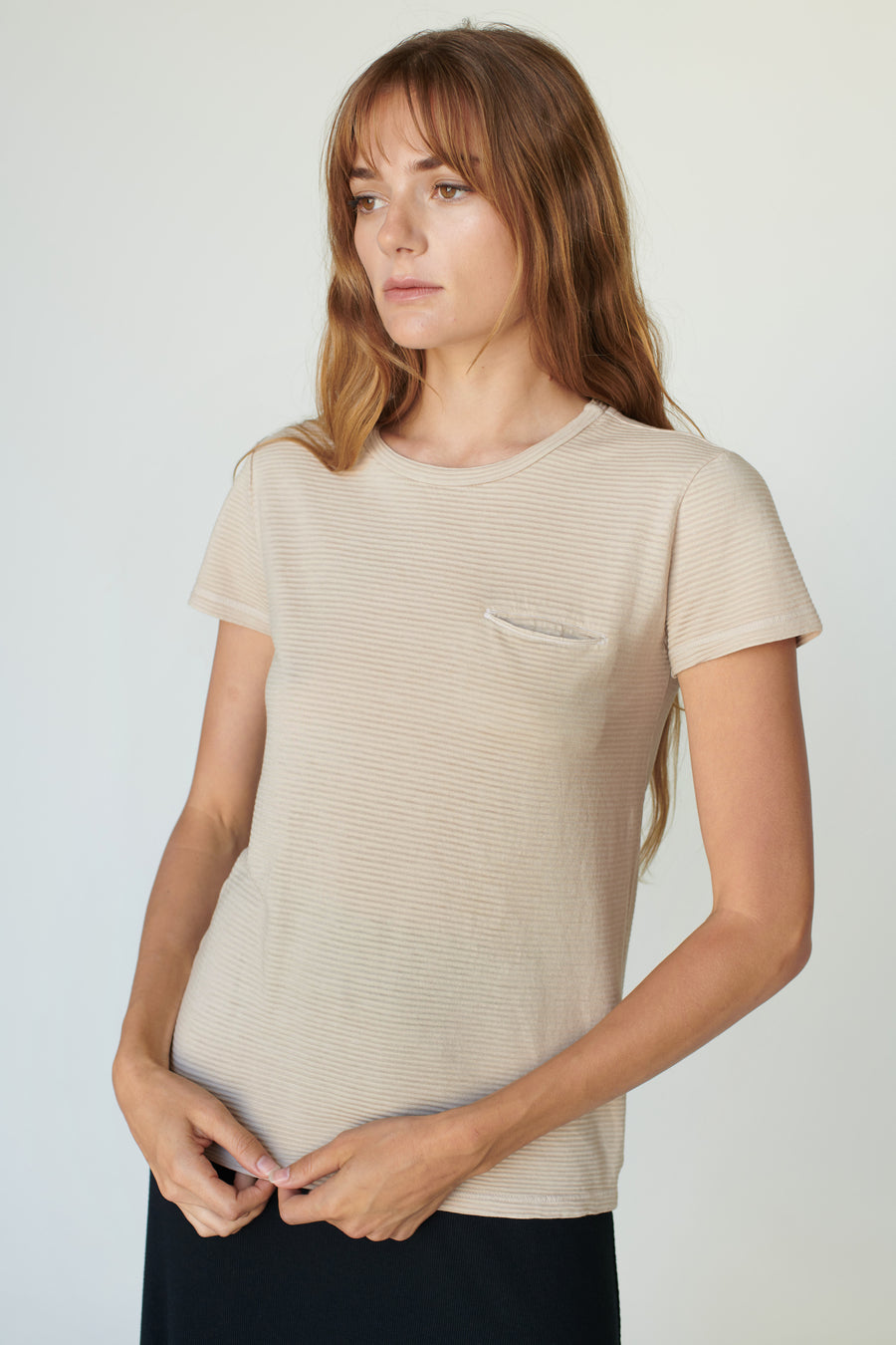 Stateside Crew Neck Top in Sone Beige Stripe