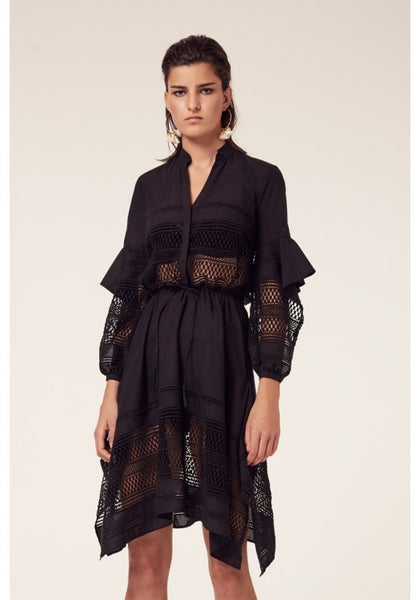 Once Was Mahal Placement Broderie Shirt Dress
