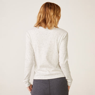 Monrow Long Sleeve Open Neck Top