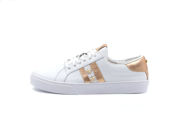 Kaanas Tatacoa Contrast Stripe Sneakers with Stars in Rose Gold