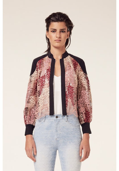 Once Was Amytis Lace Bomber Jacket