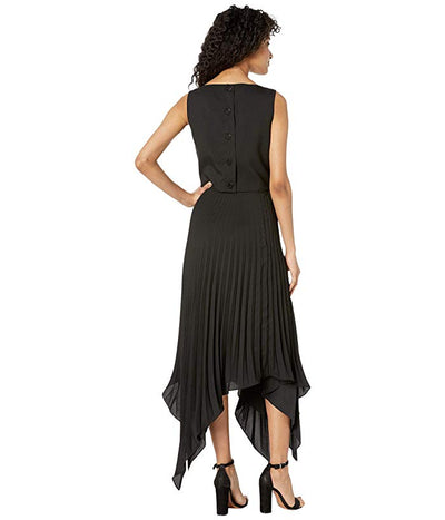 Nicole Miller Asymmetrical Pleated Dress