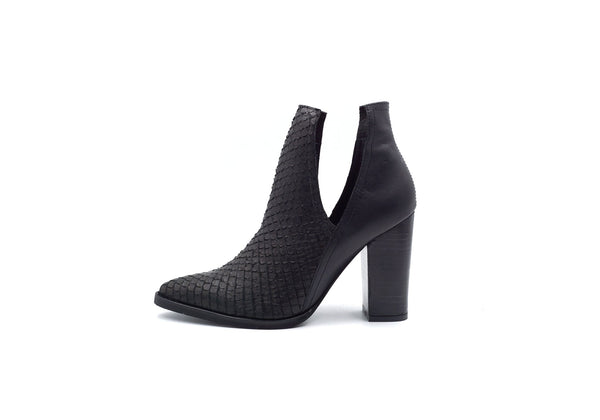 Kaanas Merida Open Ankle Stacked Heel Bootie in Black