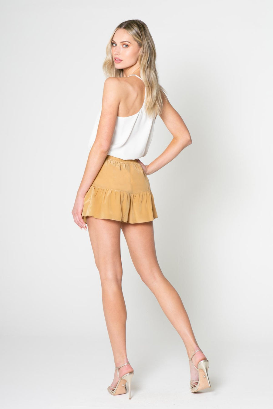 Lavender Brown Silk Shorts with Ruffle